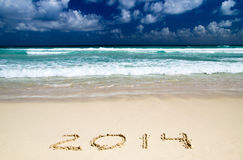 2014 on sand Royalty Free Stock Photo