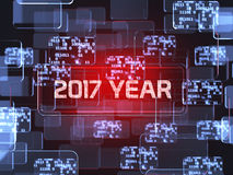 2017 year screen concept. Future technology smart glass red touchscreen interface. 2017 year screen concept Royalty Free Stock Image
