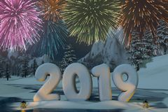 Year 2019 sculpted in snow with fireworks. The year 2019 sculpted in snow with fireworks in a mountain landscape. A 3d render stock illustration