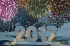 Year 2017 sculpted in snow with fireworks. The year 2017 sculpted in snow with fireworks in a mountain landscape. A 3d render Royalty Free Stock Photos