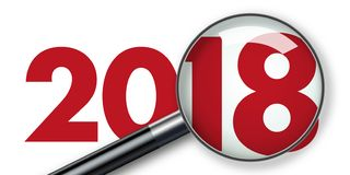Year 2018 seen through a magnifying glass royalty free illustration
