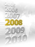 Year sequence. 3D rendered sequence of years 2005 - 2010 with highlighted 2008 on gray background Royalty Free Illustration