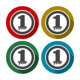 1 year of service, 1 year, Celebrating 1 year, 1st Anniversary - Set. Vector icon Stock Illustration