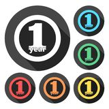 1 year of service, 1 year, Celebrating 1 year, 1st Anniversary - Set. Vector icon royalty free illustration