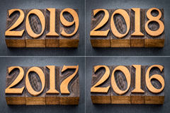 2016, 2017, 2018 and 2019 year set Royalty Free Stock Photos