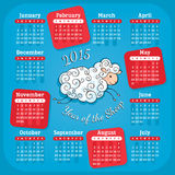 Year of the sheep 2015 calendar. Vector illustration Royalty Free Stock Photography
