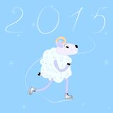 Year of Sheep 2015. Cartoon sheep skate. Greeting card 2015 Year of Sheep. Cartoon sheep skate Stock Photos