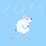Year of Sheep 2015. Cartoon sheep skate Stock Photos