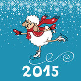 2015 Year of Sheep. Cartoon sheep skate. Greeting card.2015 Year of Sheep. Vector Cartoon sheep skate.Snowflakes background. Figures 2015 with snow.Illustration Stock Image