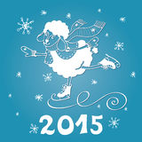 2015 Year of Sheep. Cartoon sheep skate with. Greeting card.2015 Year of Sheep. Vector Cartoon sheep skate.Snowflakes background.White silhouette. Figures 2015 Stock Image