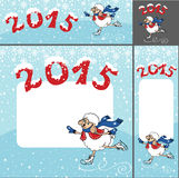 2015 Year of Sheep. Cartoon sheep skating.Banner Royalty Free Stock Photos