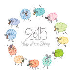 Year of the Sheep. 2015 Circle of twelve sheep stock illustration