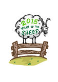2015 year of the sheep concept. Handdrawn vector of fat Sheep standing on a fence. 2015 is year of the green sheep based on Chinese astrology. eps10 vector and vector illustration