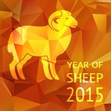 Year of the Sheep 2015 poster or card. Vector design with the profile silhouette of a ram with curled horns on a geometric patterned background of triangles in vector illustration