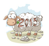 Year Of the Sheep 2015 Vector Cartoon Stock Photography