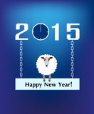 Year Of The Sheep 2015. Vector illustration of 2015 and happy new year of sheep with a sheep on a blue background Stock Images