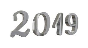 The year 2019 in shiny metallic silver numbers stock image