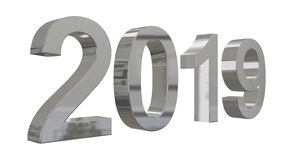 The year 2019 in shiny metallic silver numbers royalty free stock photos
