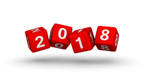 2018 year sign. Flying baby blocks with number 2018. Royalty Free Stock Photos