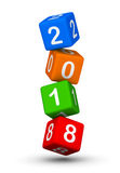 2018 year sign. Flying baby blocks with number 2018. Stock Image