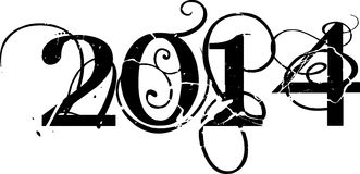 Year 2014 sign. Illustration of 2014 sign in decorative lettering, white background stock illustration