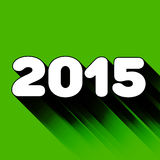 2015 year sign with long shadow. On the green vector illustration