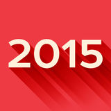 2015 year sign with long shadow. On the red vector illustration