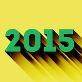 2015 year sign with long shadow. On the yellow vector illustration