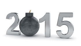 2015 year sign with round bomb isolated on white background. Dan. 3d render of 2015 year sign with round bomb isolated on white background. Danger concept stock illustration
