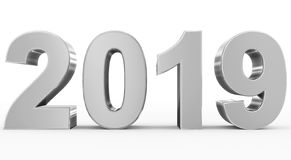 Year 2019 silver 3d numbers isolated on white. 3d rendering stock illustration