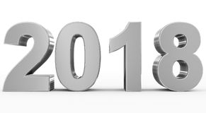 Year 2018 silver 3d numbers isolated on white. 3d rendering Stock Image