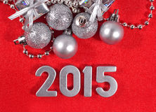 2015 year silver figures on a red Royalty Free Stock Photo