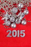 2015 year silver figures on a red Stock Photo
