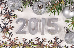 2015 year silver figures Royalty Free Stock Photos