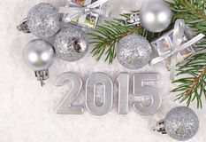 2015 year silver figures Royalty Free Stock Image