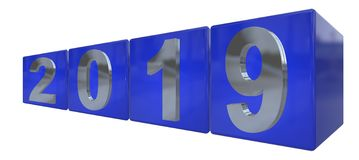 The year 2019 in silver numbers on blue cubes Stock Photo