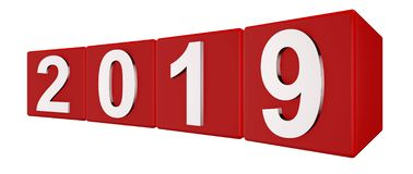The year 2019 in silver numbers on red cubes Royalty Free Stock Photo