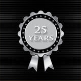 25 Year Silver Ribbon With Stars Stock Photography