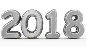 Year 2018 silver rounded 3d numbers isolated on white. 3d rendering Stock Photo