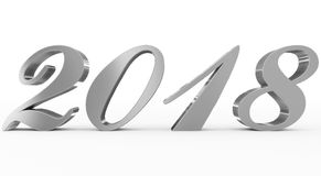 Year 2018 silver script 3d numbers isolated on white. 3d rendering Stock Photos