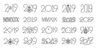 2019 year simple black line icons vector set. 2019 thin line icons set. Outline sign kit of 20, 19. Number banner linear icon snowflake element, clock countdown royalty free illustration