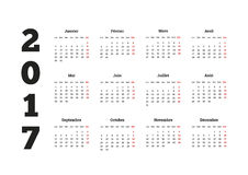 2017 year simple calendar on french language, isolated on white Royalty Free Stock Images