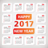 2017 year simple office calendar. Vector illustration Stock Photos
