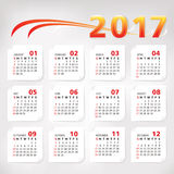 2017 year simple office calendar. Vector illustration Royalty Free Stock Image