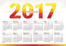 2017 year simple office calendar. Vector illustration Stock Photo