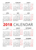 2018 year simple style text calendar. Week starts from monday. Vector Royalty Free Stock Photo