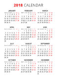 2018 year simple style text calendar. Week starts from monday. Vector Royalty Free Stock Photos