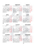 2018 year simple style text calendar. Week starts from monday. Vector Royalty Free Stock Images