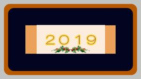 "New year card design. The year""2019"" on small white rectangle-shaped placard with golden color in both side on black backround which has golden outline royalty free illustration"