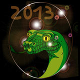 Year of the snake 2013. Hand drawn illustration of a snake for the 2013 new years eve party, transparency used Royalty Free Stock Photo